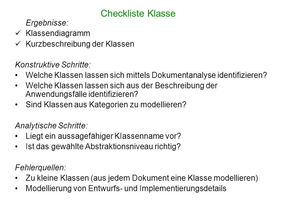 Checkliste Klasse Ergebnisse: