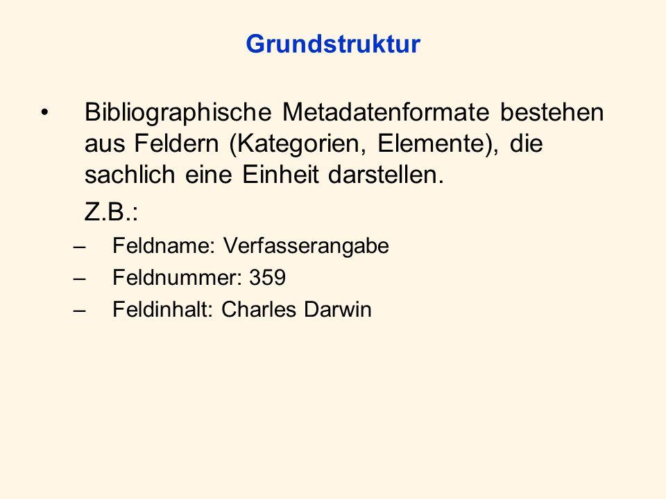 Grundstruktur Bibliographische Metadatenformate bestehen aus Feldern (Kategorien, Elemente), die sachlich eine Einheit darstellen.