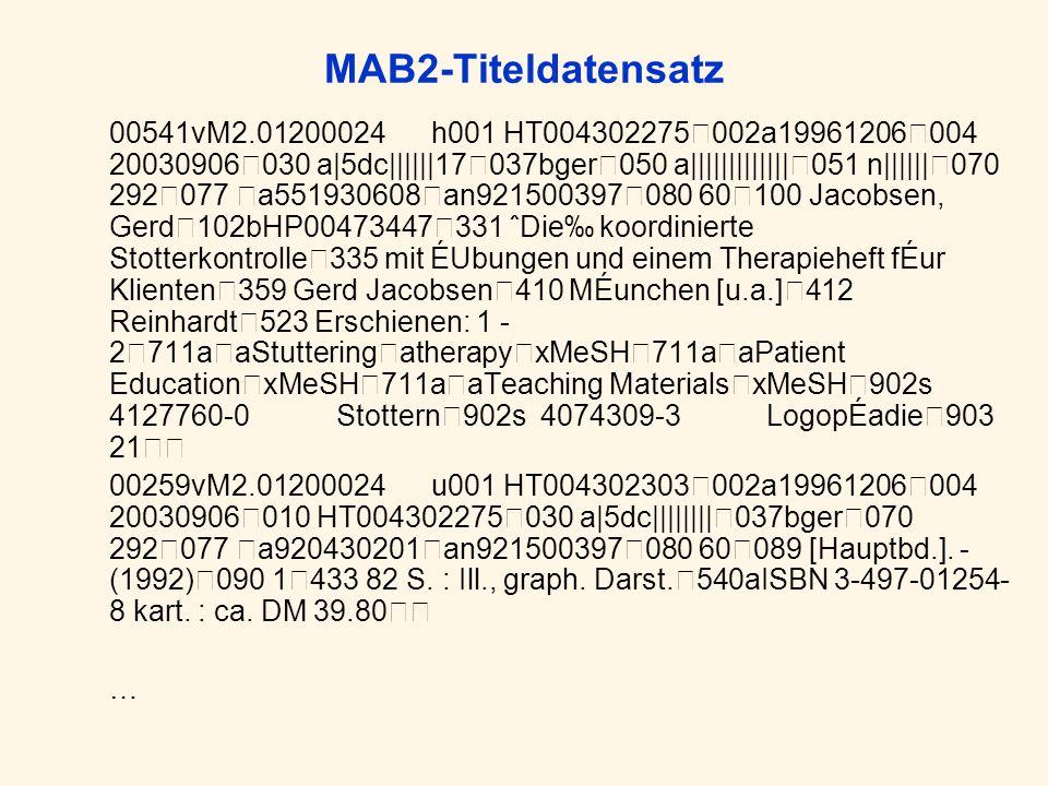 MAB2-Titeldatensatz