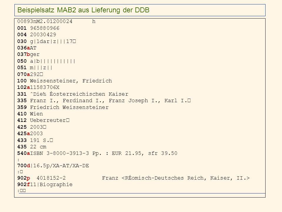 Beispielsatz MAB2 aus Lieferung der DDB