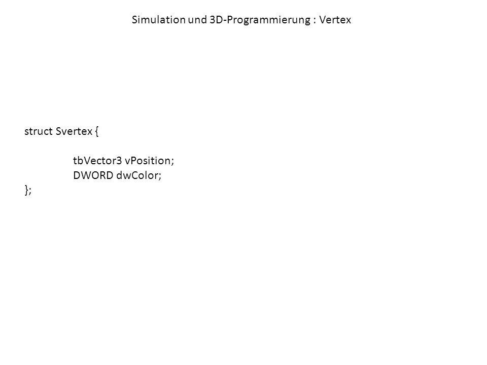 Simulation und 3D-Programmierung : Vertex