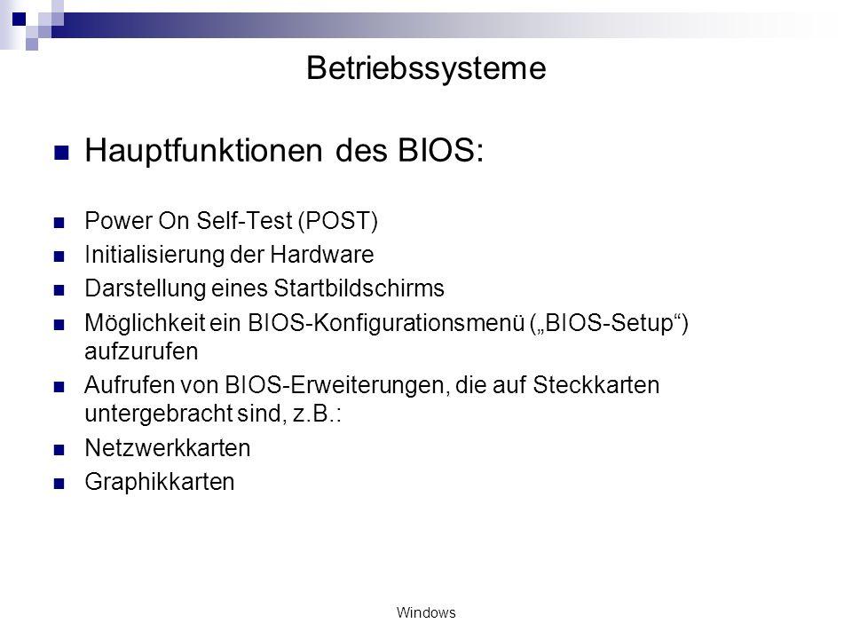 Hauptfunktionen des BIOS: