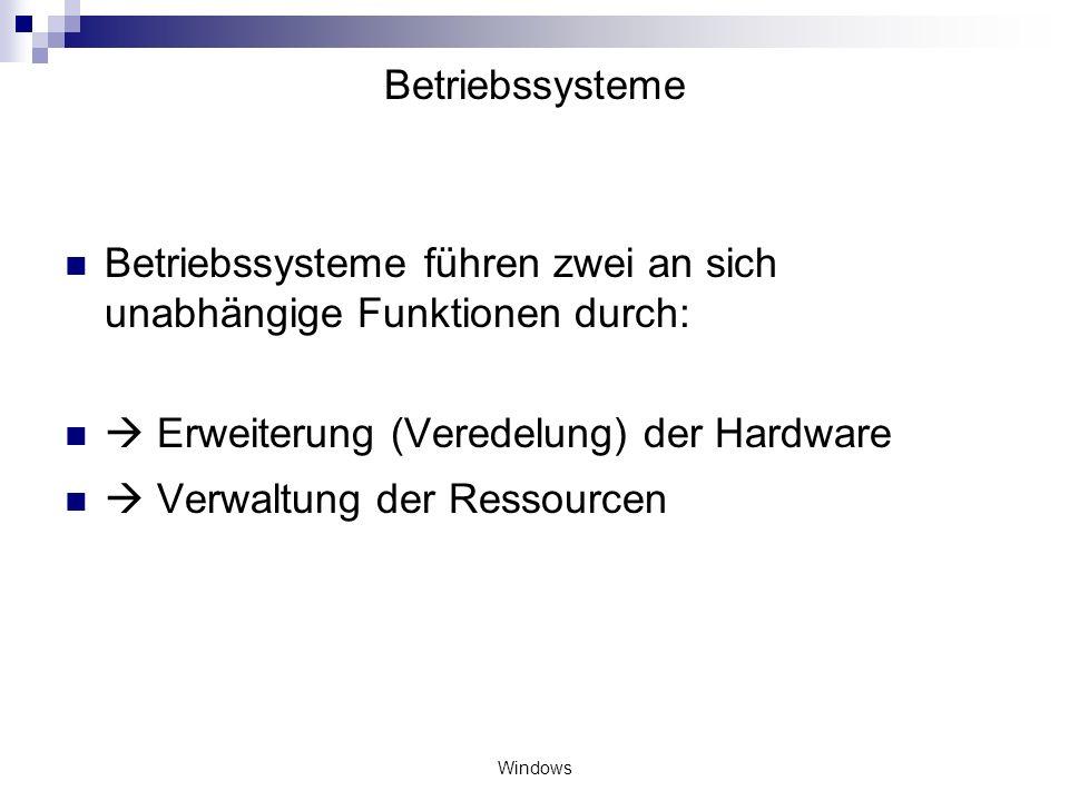 Betriebssysteme führen zwei an sich unabhängige Funktionen durch: