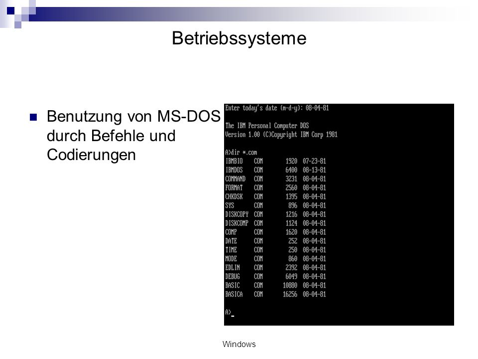 Betriebssysteme Benutzung von MS-DOS durch Befehle und Codierungen