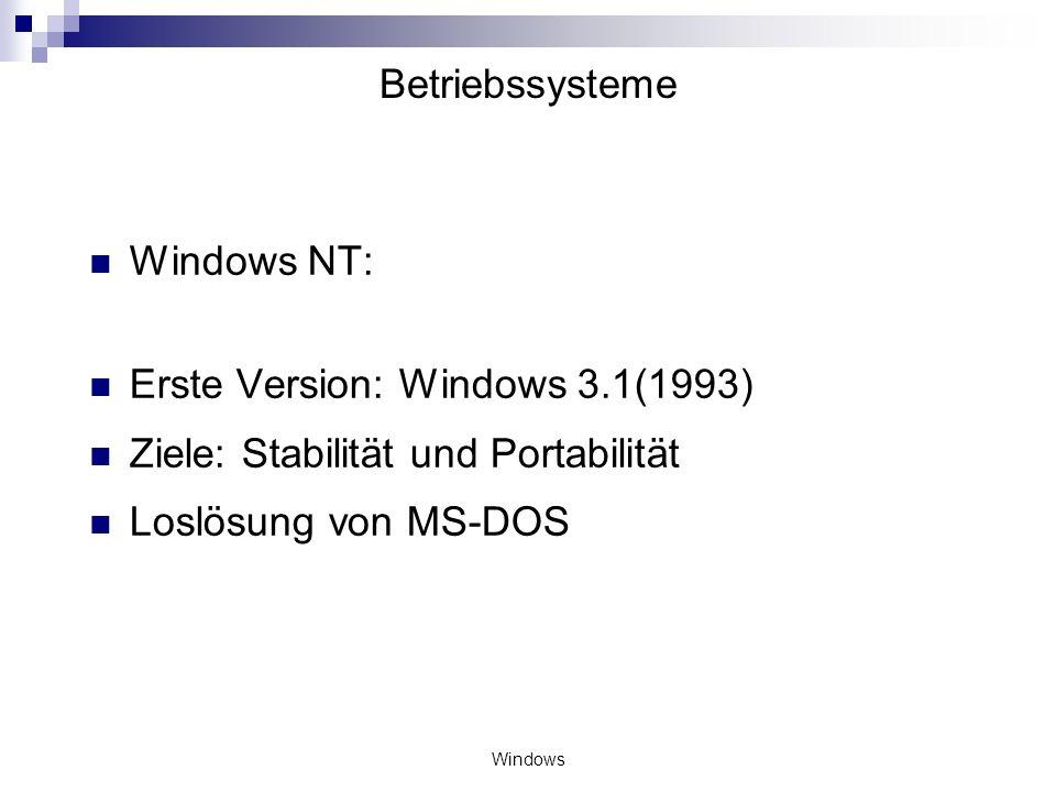 Erste Version: Windows 3.1(1993) Ziele: Stabilität und Portabilität