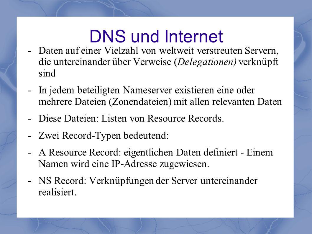 DNS und Internet - Daten auf einer Vielzahl von weltweit verstreuten Servern, die untereinander über Verweise (Delegationen) verknüpft sind.
