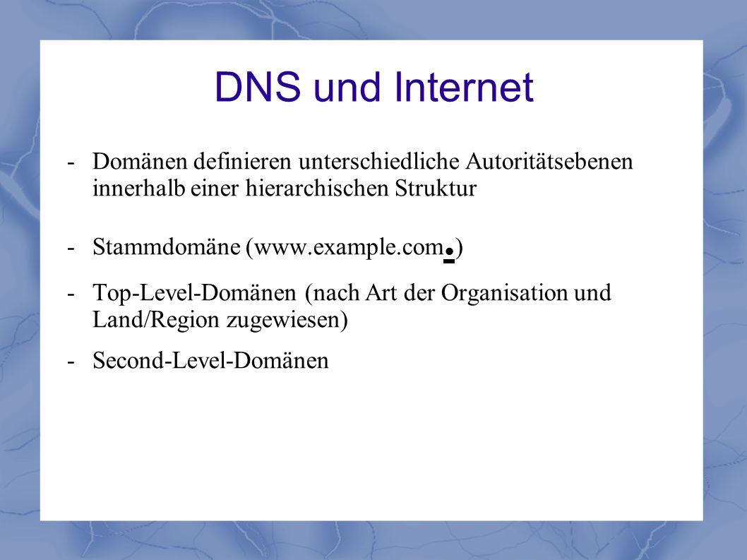 DNS und Internet - Domänen definieren unterschiedliche Autoritätsebenen innerhalb einer hierarchischen Struktur.