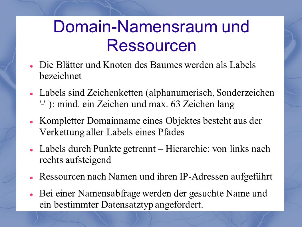 Domain-Namensraum und Ressourcen