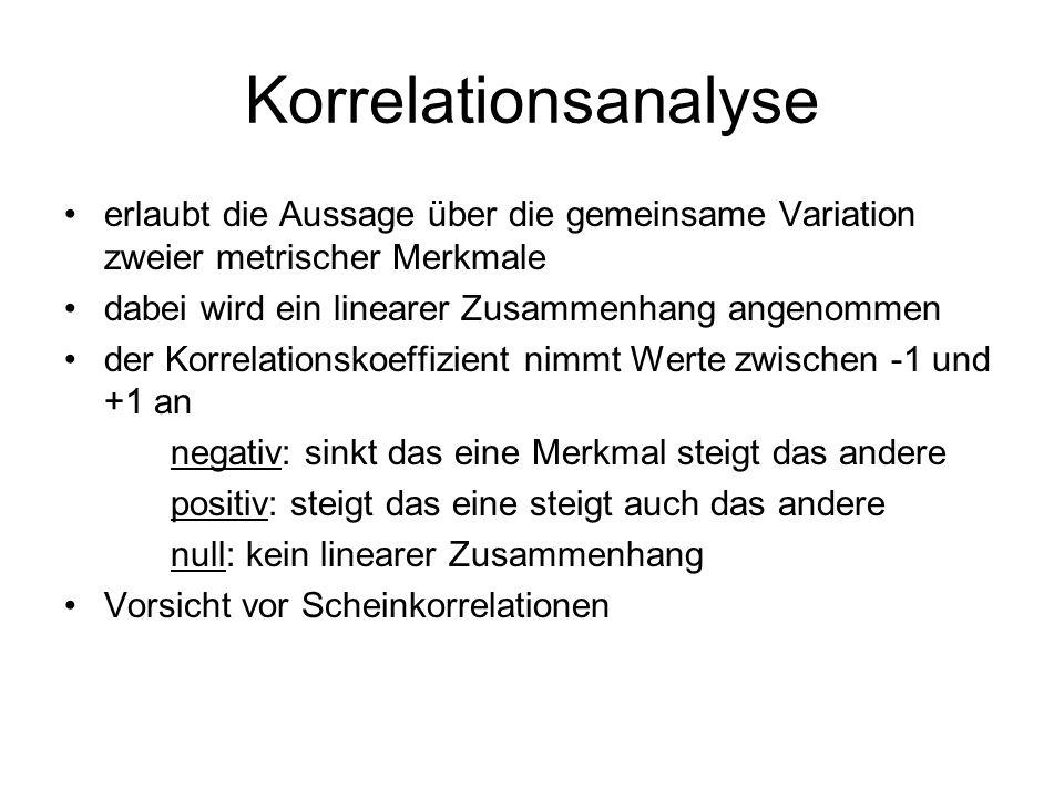 Korrelationsanalyse erlaubt die Aussage über die gemeinsame Variation zweier metrischer Merkmale. dabei wird ein linearer Zusammenhang angenommen.