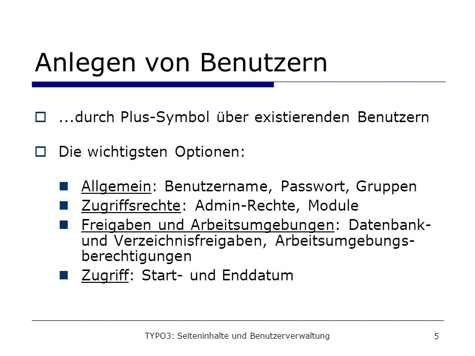 TYPO3: Seiteninhalte und Benutzerverwaltung
