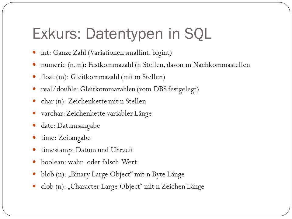 Exkurs: Datentypen in SQL