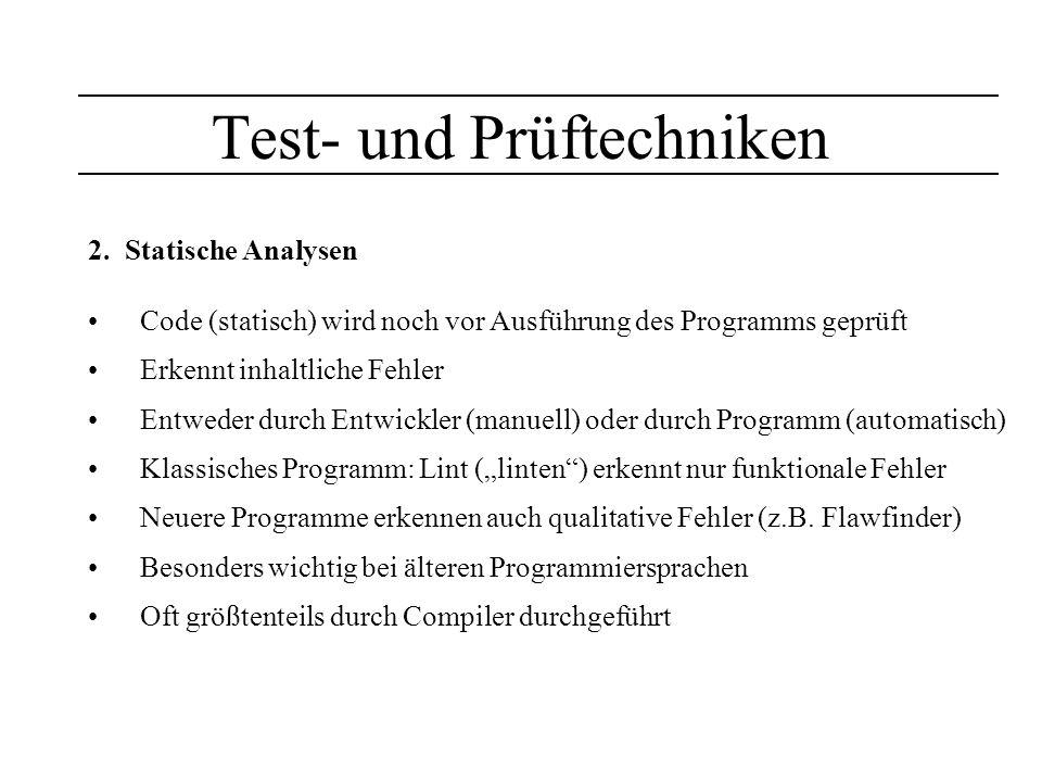Test- und Prüftechniken