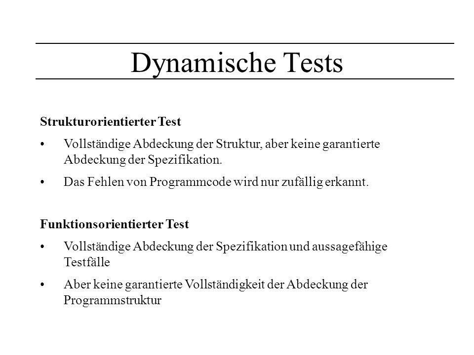 Dynamische Tests Strukturorientierter Test