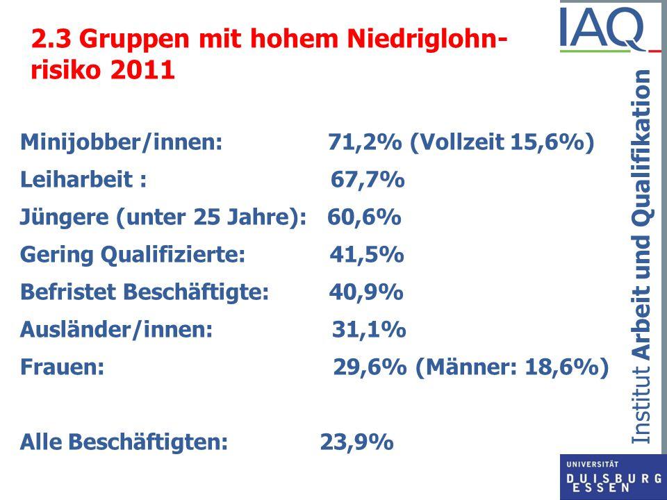2.3 Gruppen mit hohem Niedriglohn- risiko 2011