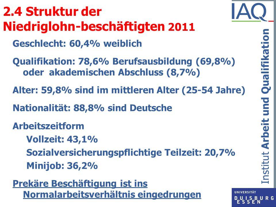 2.4 Struktur der Niedriglohn-beschäftigten 2011