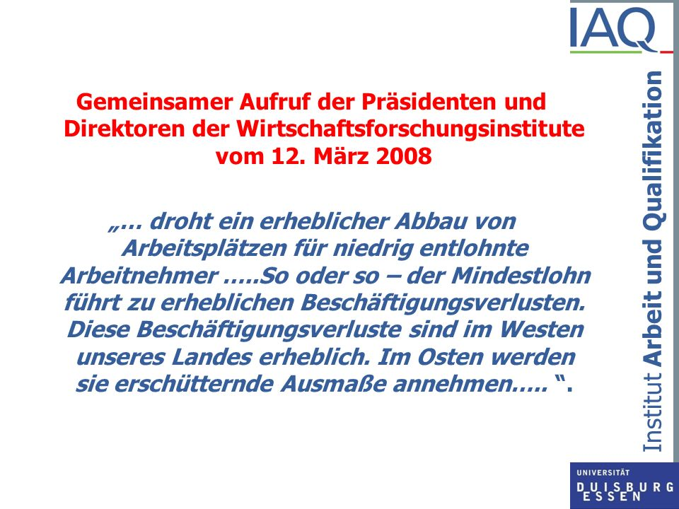 Gemeinsamer Aufruf der Präsidenten und Direktoren der Wirtschaftsforschungsinstitute vom 12. März 2008