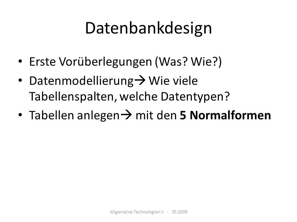 Allgemeine Technologien II - SS 2009