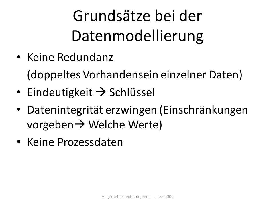 Grundsätze bei der Datenmodellierung