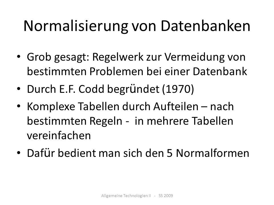 Normalisierung von Datenbanken