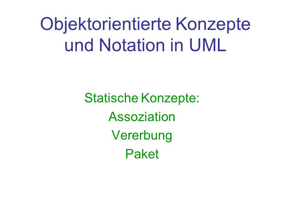 Objektorientierte Konzepte und Notation in UML