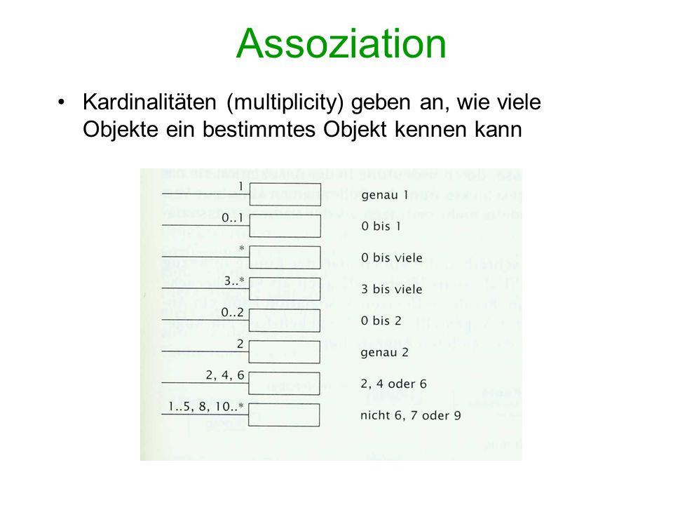Assoziation Kardinalitäten (multiplicity) geben an, wie viele Objekte ein bestimmtes Objekt kennen kann.
