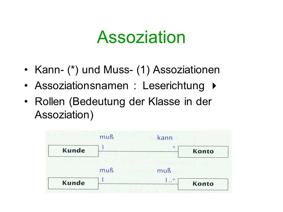 Assoziation Kann- (*) und Muss- (1) Assoziationen