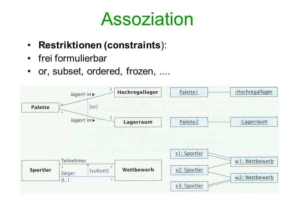 Assoziation Restriktionen (constraints): frei formulierbar
