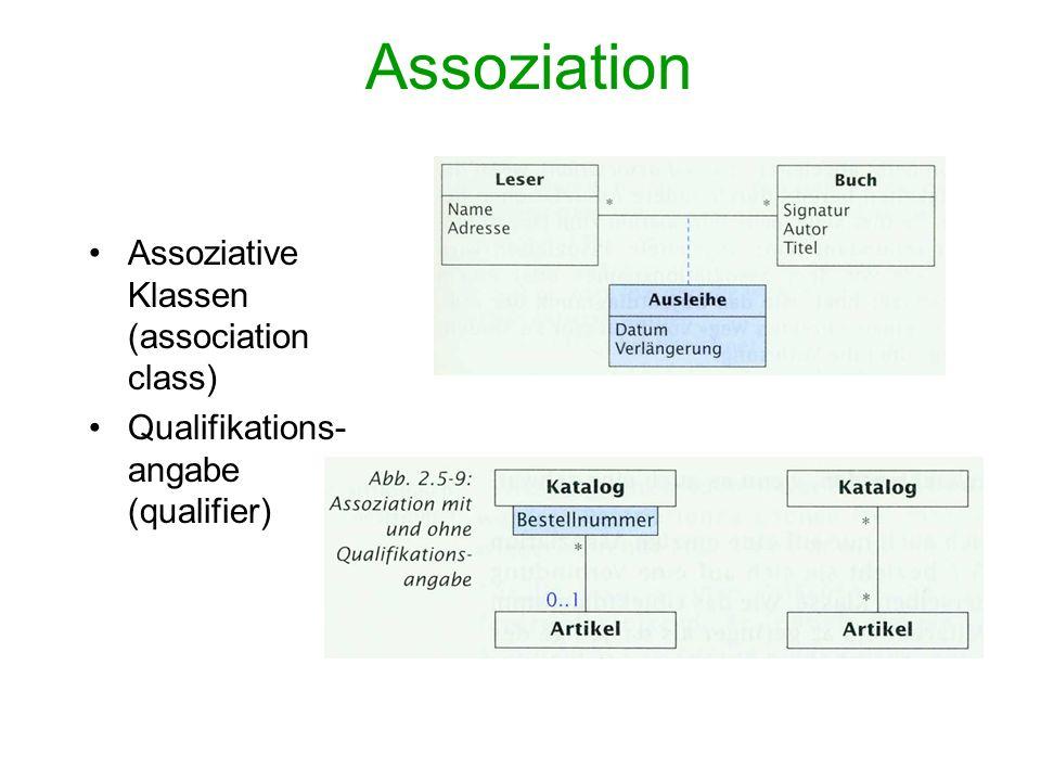 Assoziation Assoziative Klassen (association class)
