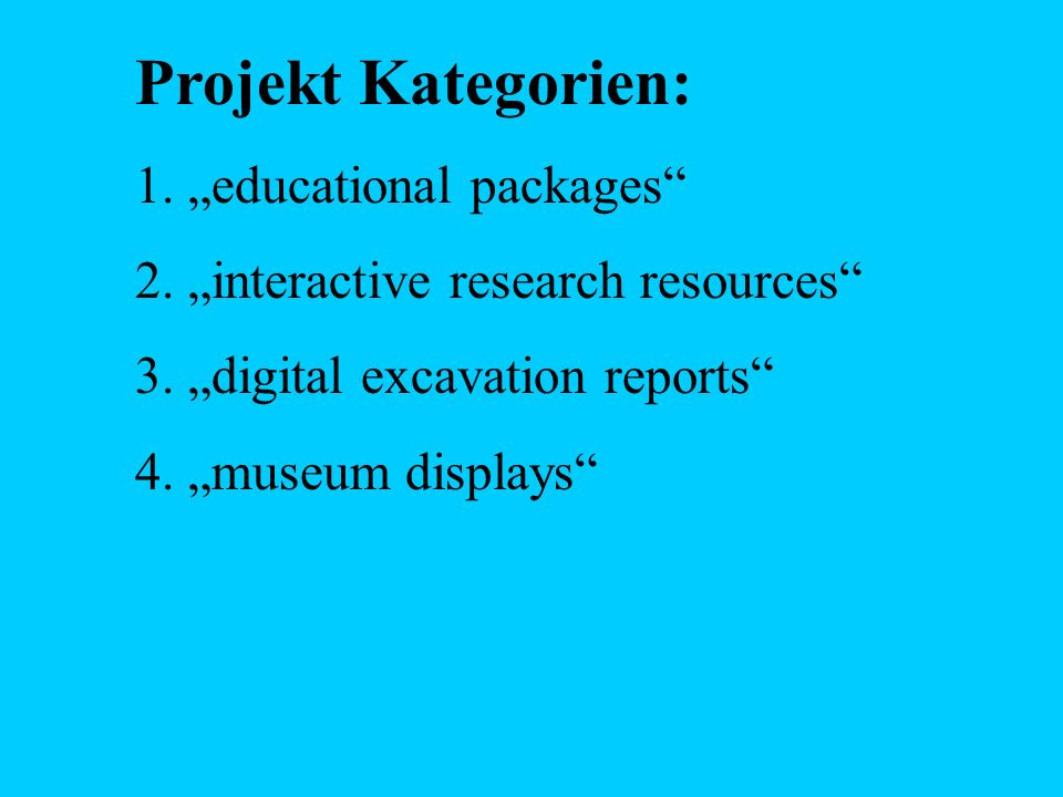 "Projekt Kategorien: ""educational packages"
