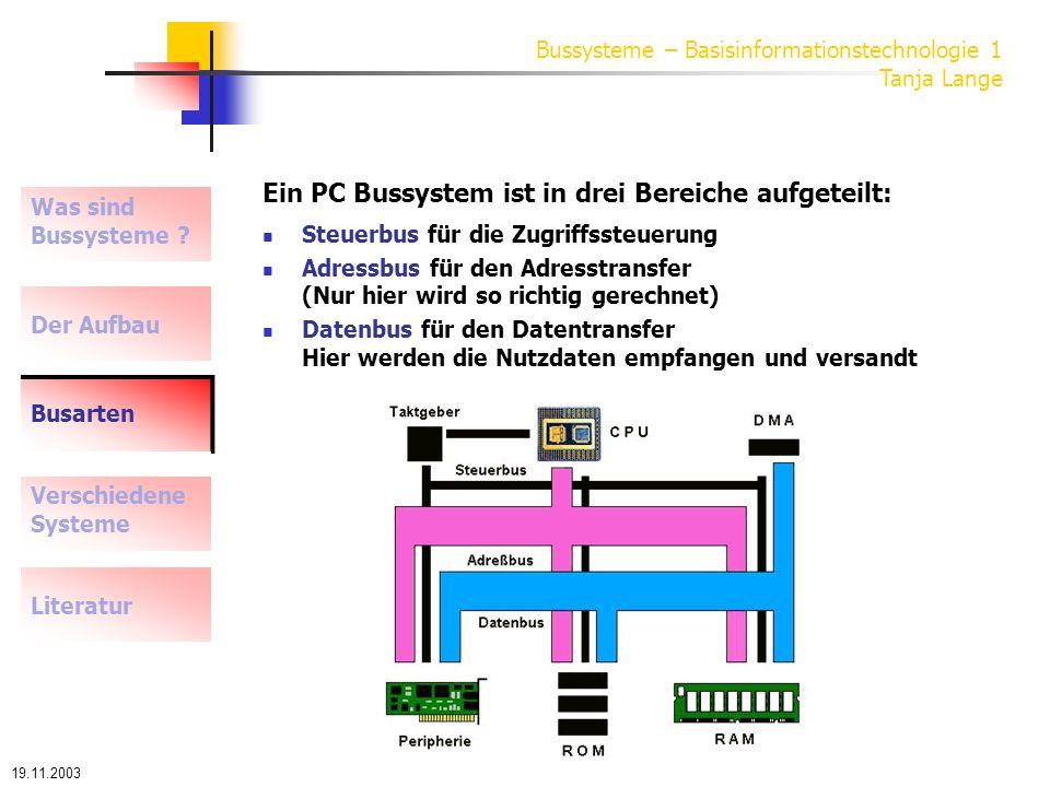 Ein PC Bussystem ist in drei Bereiche aufgeteilt: