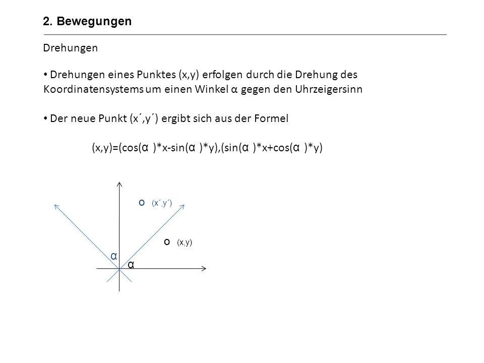 2. Bewegungen Drehungen. Drehungen eines Punktes (x,y) erfolgen durch die Drehung des Koordinatensystems um einen Winkel α gegen den Uhrzeigersinn.