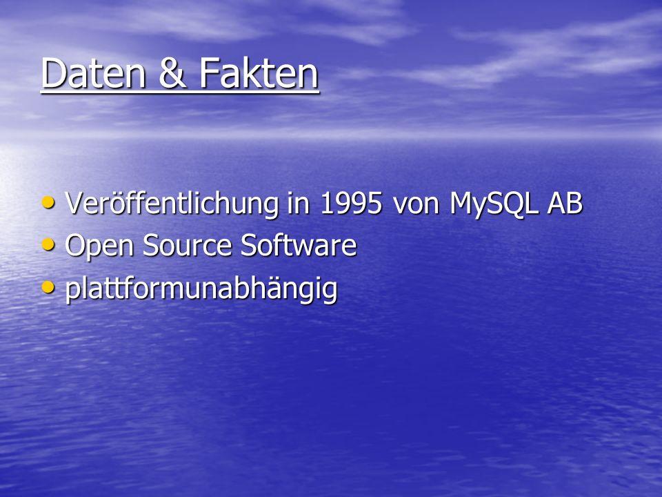 Daten & Fakten Veröffentlichung in 1995 von MySQL AB