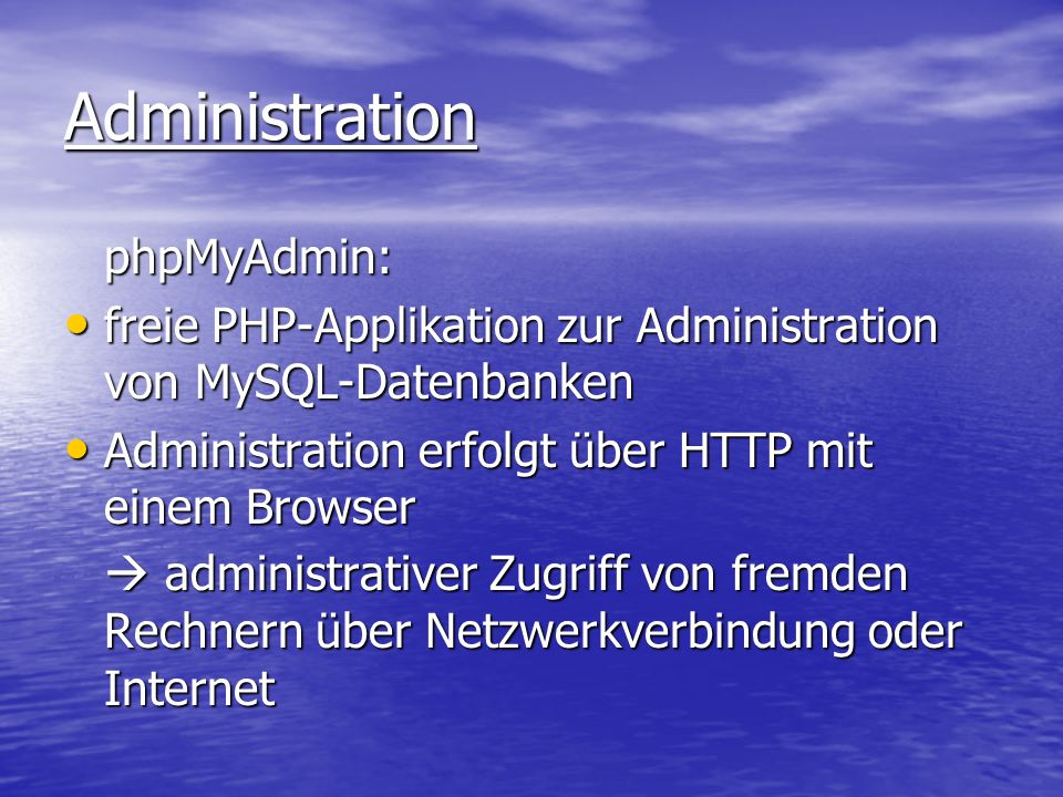 Administration phpMyAdmin: