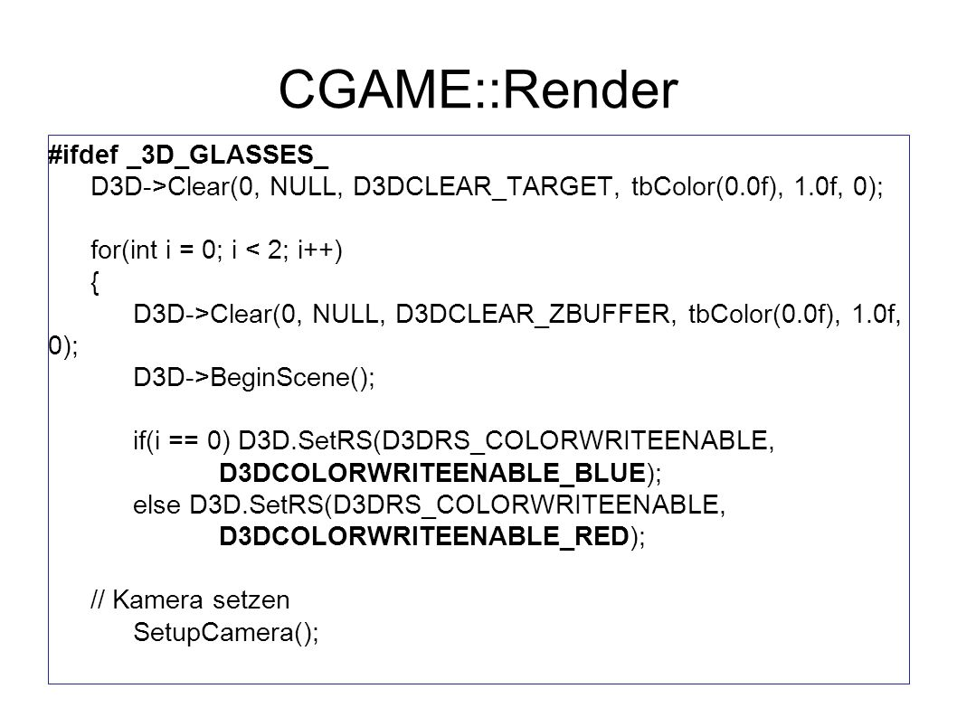 CGAME::Render #ifdef _3D_GLASSES_