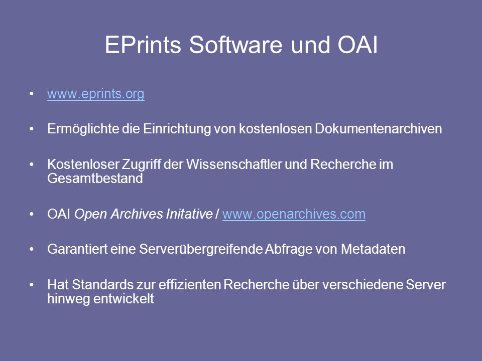 EPrints Software und OAI