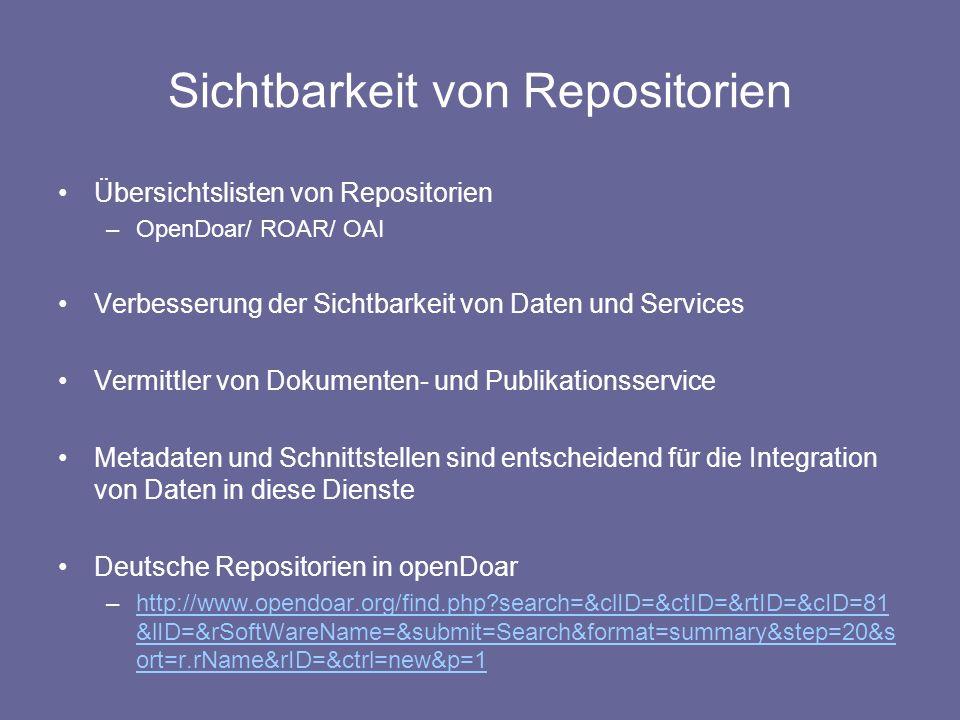 Sichtbarkeit von Repositorien