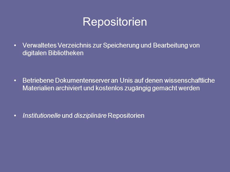 Repositorien Verwaltetes Verzeichnis zur Speicherung und Bearbeitung von digitalen Bibliotheken.