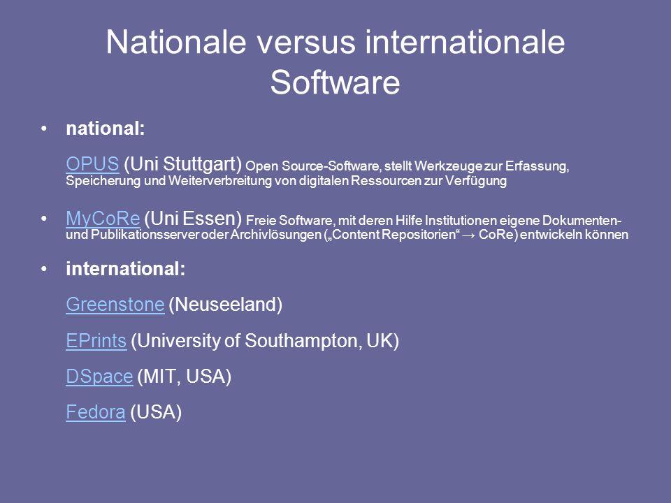 Nationale versus internationale Software