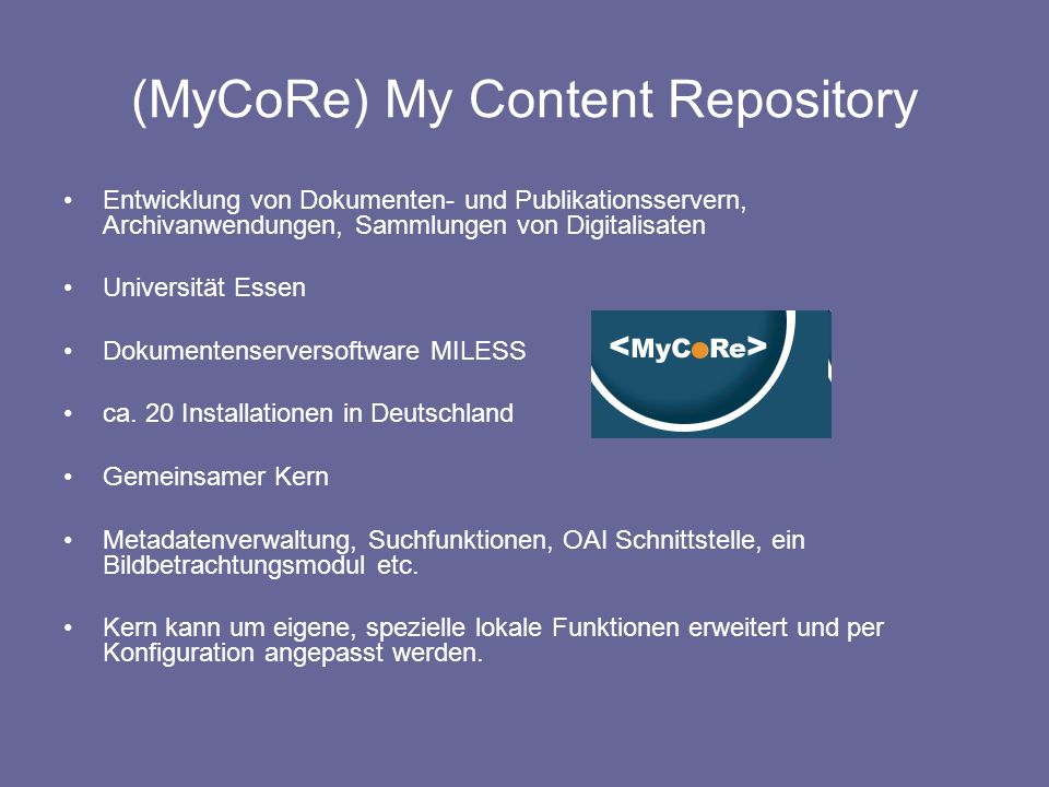 (MyCoRe) My Content Repository