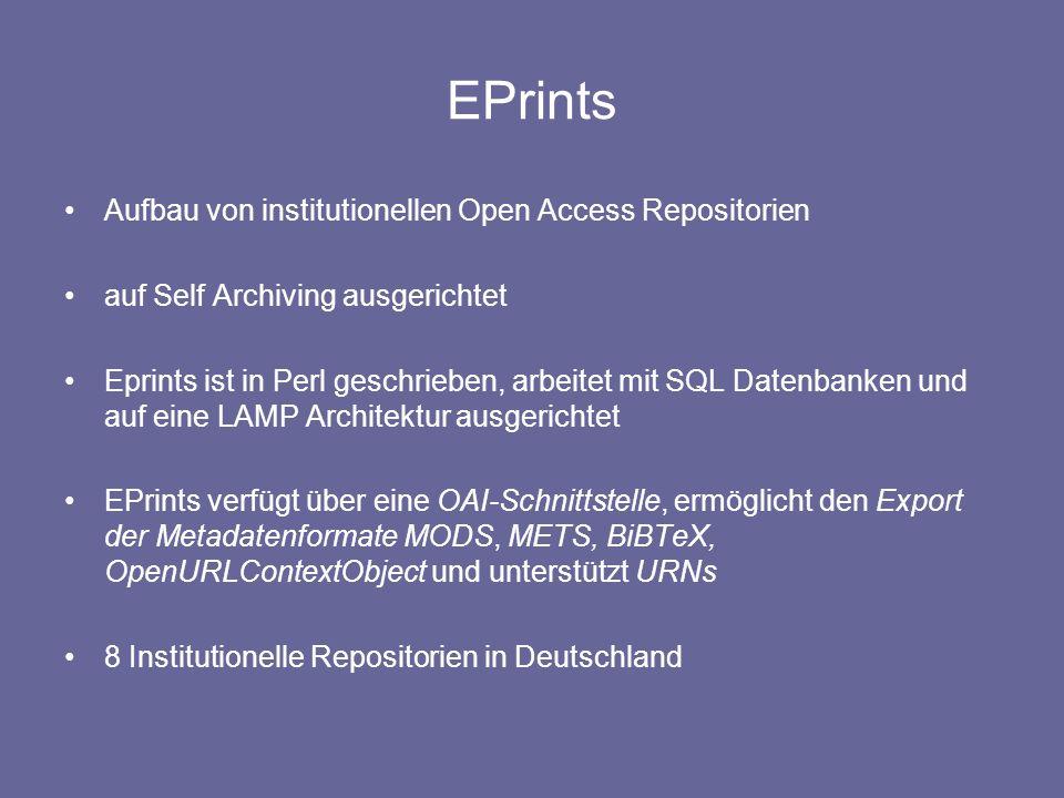 EPrints Aufbau von institutionellen Open Access Repositorien