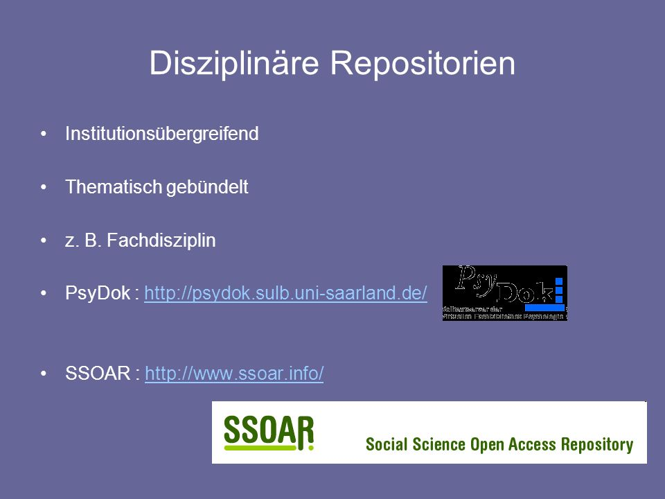 Disziplinäre Repositorien
