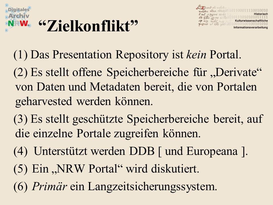 Zielkonflikt Das Presentation Repository ist kein Portal.