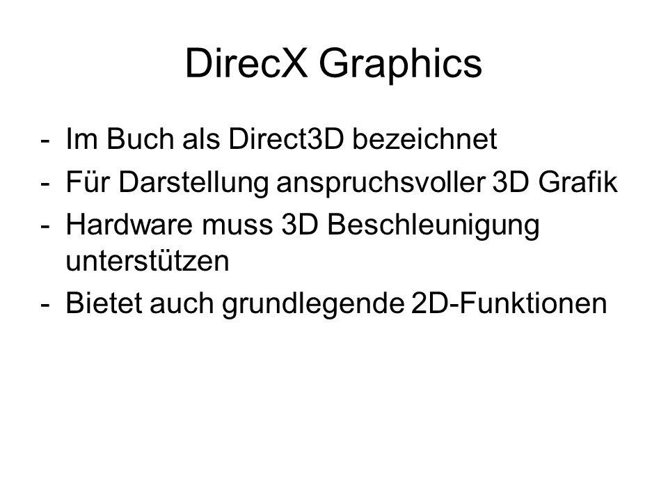 DirecX Graphics Im Buch als Direct3D bezeichnet