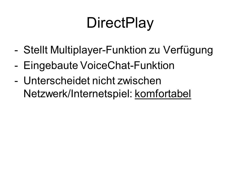 DirectPlay Stellt Multiplayer-Funktion zu Verfügung
