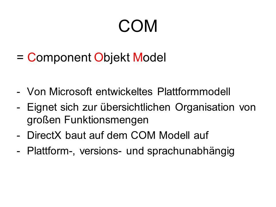 COM = Component Objekt Model