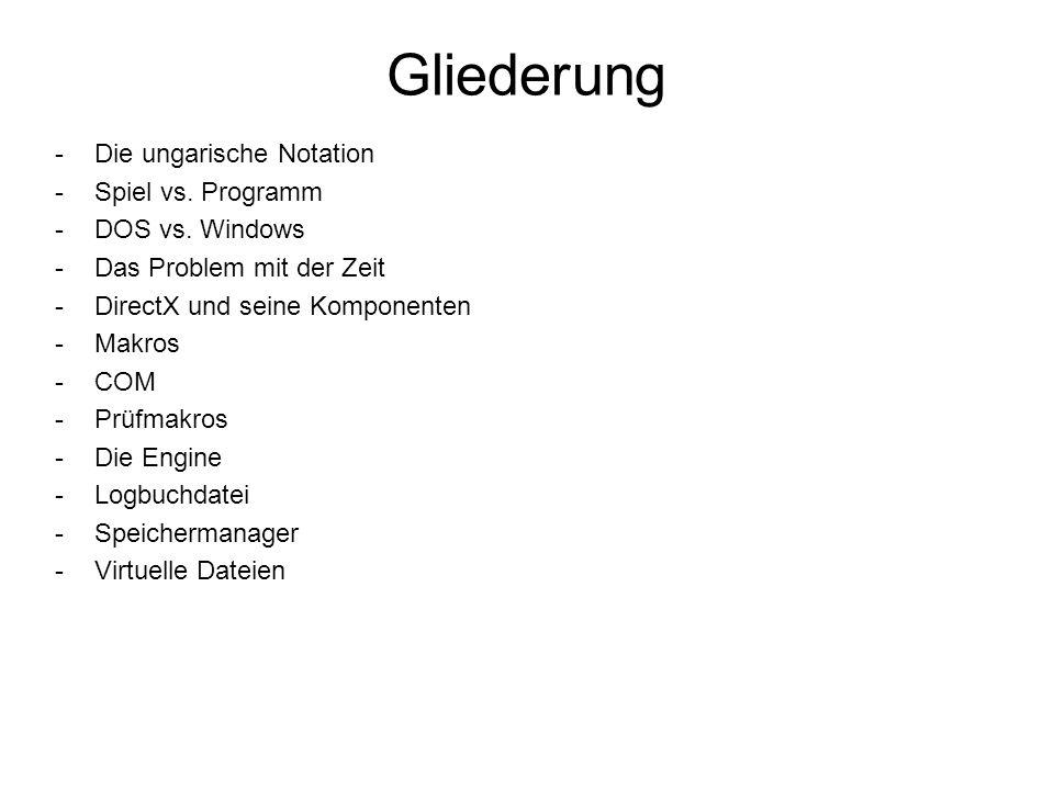 Gliederung Die ungarische Notation Spiel vs. Programm DOS vs. Windows