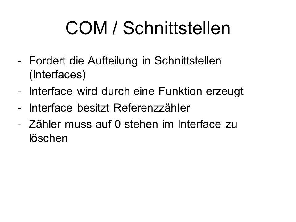 COM / Schnittstellen Fordert die Aufteilung in Schnittstellen (Interfaces) Interface wird durch eine Funktion erzeugt.