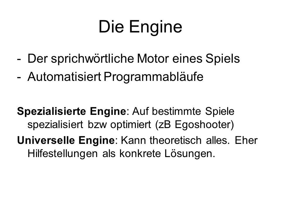 Die Engine Der sprichwörtliche Motor eines Spiels