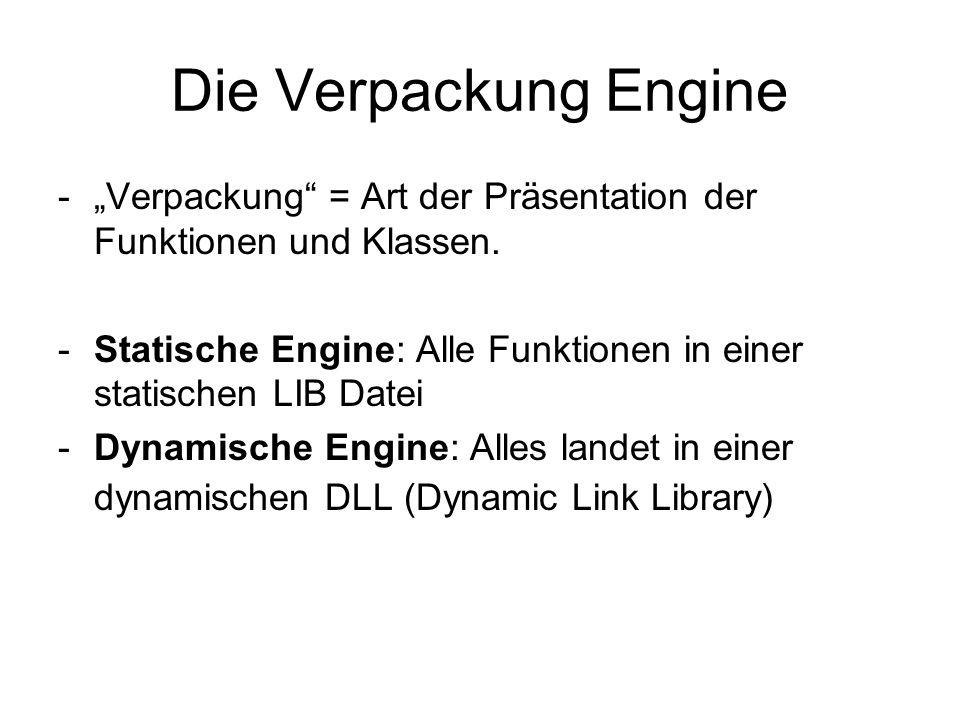 """Die Verpackung Engine """"Verpackung = Art der Präsentation der Funktionen und Klassen."""