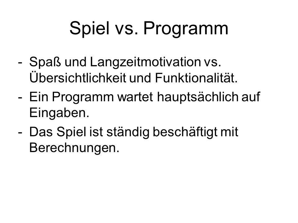 Spiel vs. Programm Spaß und Langzeitmotivation vs. Übersichtlichkeit und Funktionalität. Ein Programm wartet hauptsächlich auf Eingaben.